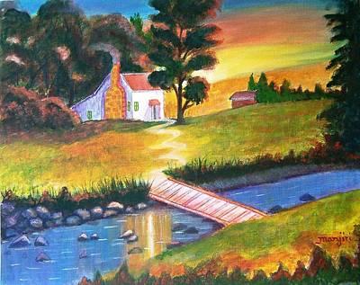 Sunset Painting - Sunset Cottage by Manjiri Kanvinde