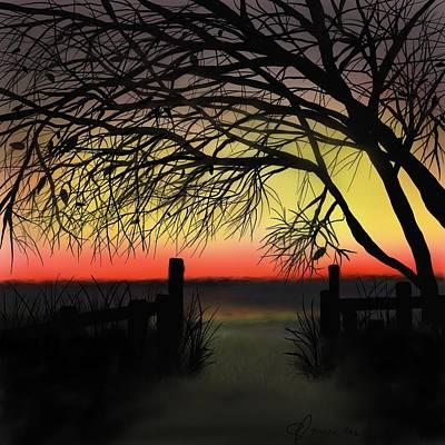 Sunset Art Print by Ed Berlyn