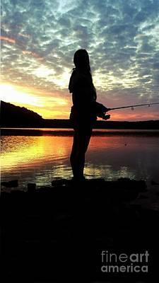 Crappie Digital Art - Sunset Fishing  by Scott D Van Osdol