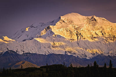 Northside Photograph - Sunset Glow On Mt. Mckinley, Denali by Sunny Awazuhara- Reed