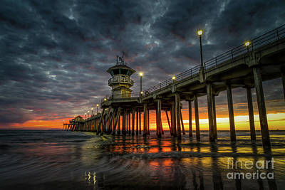 Photograph - Sunset Huntington Beach Pier  by Peter Dang