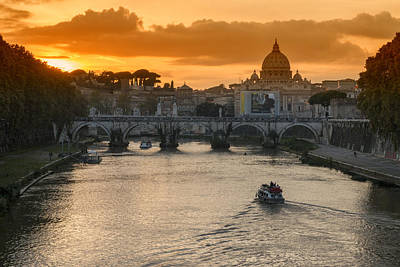 Photograph - Sunset In Rome by Pietro Ebner