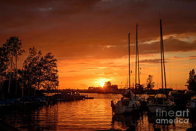 Photograph - Sunset In The Harbor Of De Veenhoop In Holland by Compuinfoto