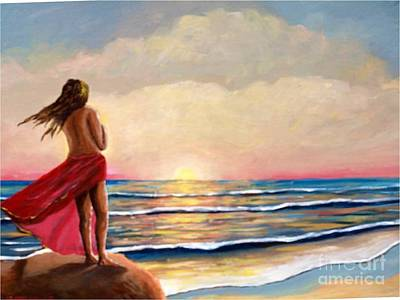 Painting - Sunset In The Sea by Jean Pierre Bergoeing