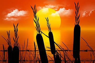 Warm Digital Art - Sunset Lake by Robert Orinski