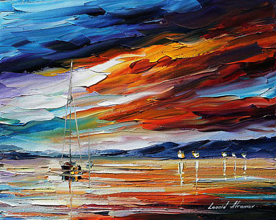 Lighthouse Oil Painting - Sunset by Leonid Afremov