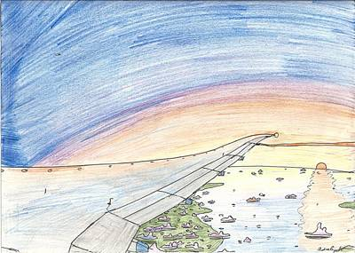Ocean Sunset Drawing - Sunset Near Heaven by Andrew Brooks