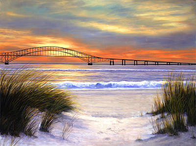 Sunset Painting - Sunset Over Robert Moses by Diane Romanello