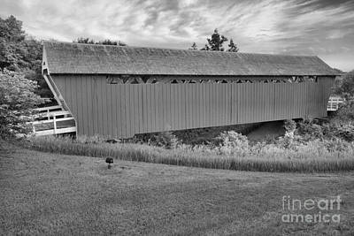 Photograph - Sunset Over The Imes Covered Bridge Black And White by Adam Jewell