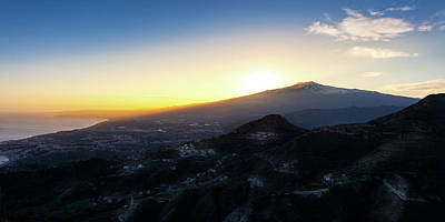 Photograph - Sunset Over The Volcano Mount Etna And The Gulf Of Catania Viewe by Alfio Finocchiaro
