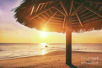 Photograph - Sunset Over Tropical Sandbank Island With Sunshade At Sunset. Maldives by Michal Bednarek
