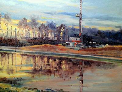 Oil Rig Painting - Sunset Reflections by Spencer Meagher