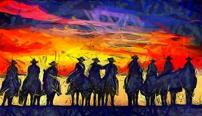 Digital Art - Sunset Riders by Carrie OBrien Sibley