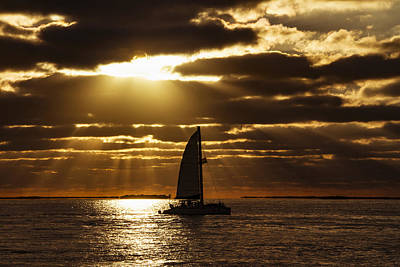 Photograph - Sunset Sail 2 by Bob Slitzan