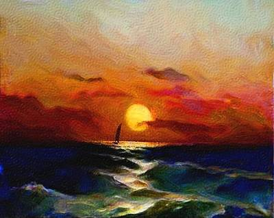 Green Color Painting - Sunset Sail by Karen Conine