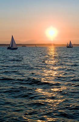 Sunset Sailing Art Print by Tom Dowd
