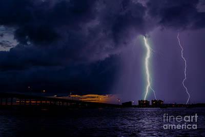 Lightning Photograph - Sunset Strikes by Quinn Sedam