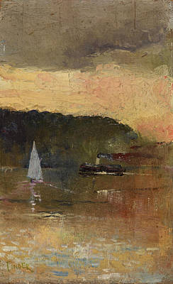 Sydney Harbour Painting - Sunset. Sydney Harbour by Charles Conder