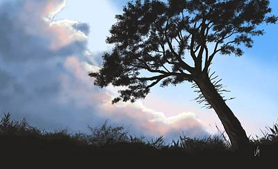 Landscape Digital Painting - Sunset by Veronica Minozzi