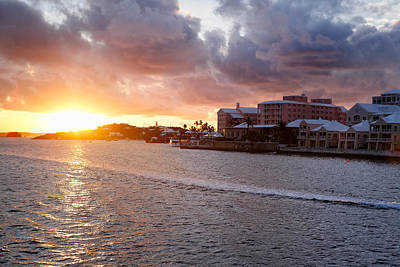 Sunset View Of Hamilton Bay Bermuda Art Print by George Oze