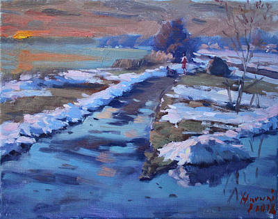 Winter Sunset Wall Art - Painting - Sunset  by Ylli Haruni