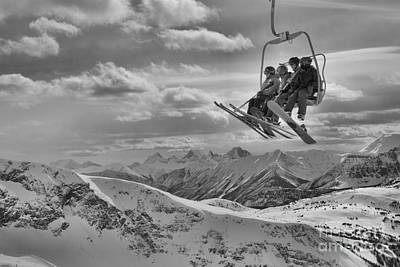Photograph - Sunshine Village Peak Adventure Black And White by Adam Jewell