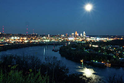 Photograph - Super Moon Cincinnati River by Randall Branham