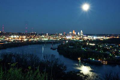 Photograph - Super Moon Cincinnati River by Randall Branham