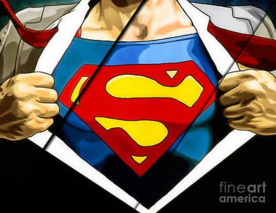 Super Heroes Mixed Media - Superman Collection by Marvin Blaine
