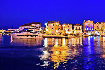 Photograph - Supetar Waterfront Evening Panoramic View From Sea by Brch Photography