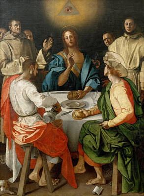 Emmaus Painting - Supper At Emmaus by Jacopo Pontormo