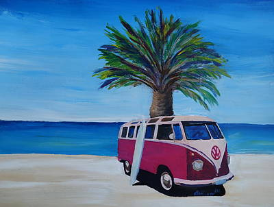 Bulli Painting - Surf Bus Series - The Red Volkswagen Surf Bus by M Bleichner