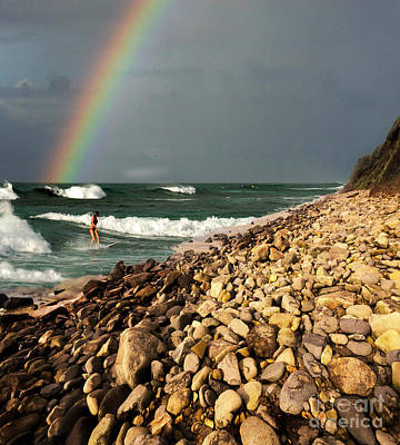 Female Surfer Photograph - Surfing With Rainbows by Bob Christopher