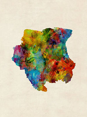 South America Digital Art - Suriname Watercolor Map by Michael Tompsett