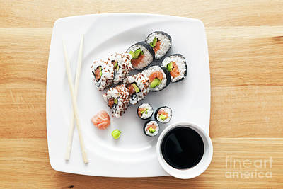 Sushi With Salmon, Avocado, Rice In Seaweed Served With Wasabi And Ginger Art Print by Michal Bednarek