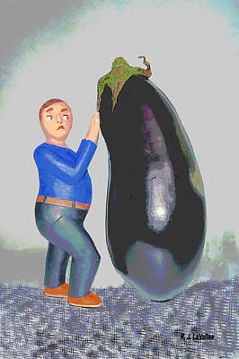 Suspicious Of Eggplants Art Print