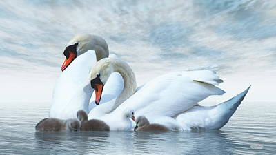 Lovely Lavender - Swan family - 3D render by Elenarts - Elena Duvernay Digital Art