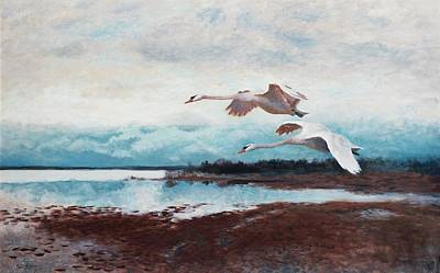 Swans In Flight Art Print by MotionAge Designs