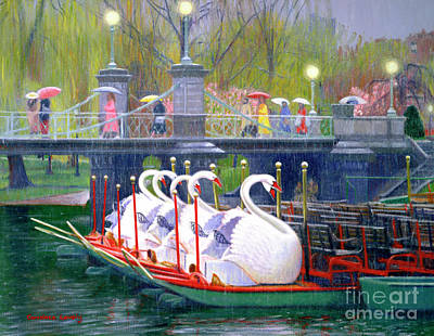 Painting - Swans In The Rain by Candace Lovely