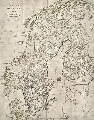 Copenhagen Denmark Digital Art - Sweden Norway Denmark Antique Vintage Map by ELITE IMAGE photography By Chad McDermott