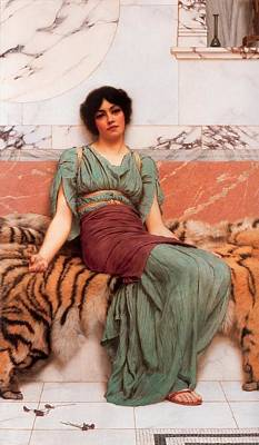 Tiger Skin Painting - Sweet Dreams by John William Godward