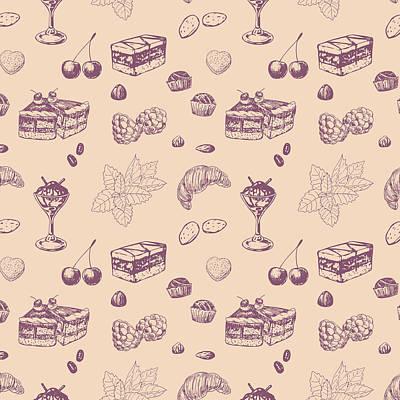 Sweet Pattern With Various Desserts. Art Print by Katerina Kirilova