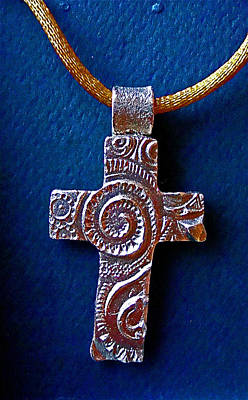 Bronze Cross Pendant Jewelry - Swirly Cross by Cydney Morel-Corton