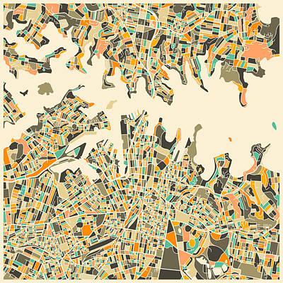 Sydney Map Art Print by Jazzberry Blue