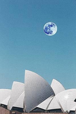 Sydney Harbour Painting - Sydney Opera House, Sydney, Australia Travel Poster by Celestial Images