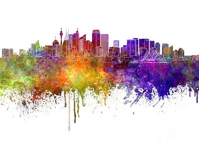 Oceania Painting - Sydney V2 Skyline In Watercolor Background by Pablo Romero