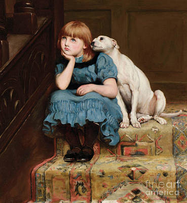 Deep In Thought Painting - Sympathy by Briton Riviere
