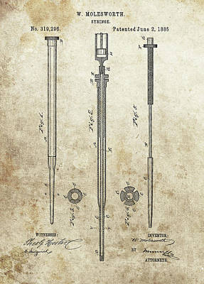 Drawing - Syringe Patent by Dan Sproul