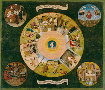 Story Painting - Table Of The Mortal Sins by Hieronymus Bosch