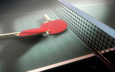 Wooden Digital Art - Table Tennis Table And Paddles by Allan Swart